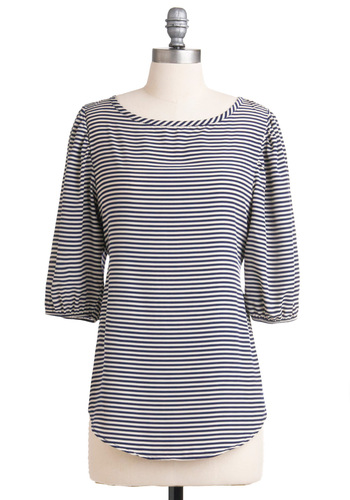 Les Machines de L'ile Top in Bleu - Stripes, 3/4 Sleeve, Blue, White, Casual, Nautical, Mid-length, Boat, French / Victorian