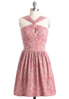 Frock Garden Dress by Annie Greenabelle - Mid-length, Pink, White, Floral, A-line, Casual, Halter