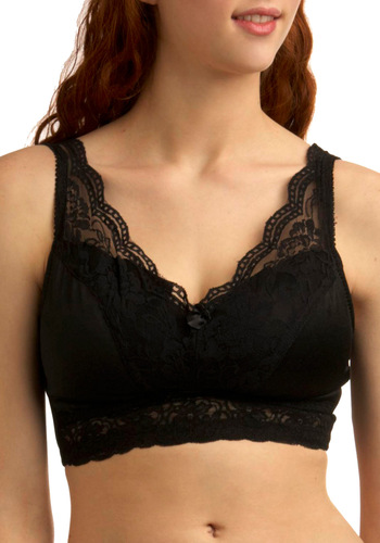 Bold Hollywood Full-Coverage Bra in Black - Vintage Inspired, Black, Solid, Lace, Bows, Film Noir, Pinup, Variation, Best Seller, Sheer