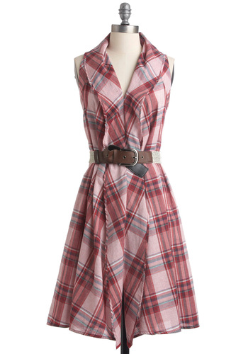 Perfect Tennessee Dress - Casual, Red, White, Plaid, Shirt Dress, Sleeveless, Multi, Green, Blue, Cutout, Long, Belted, Cotton, Rustic, V Neck