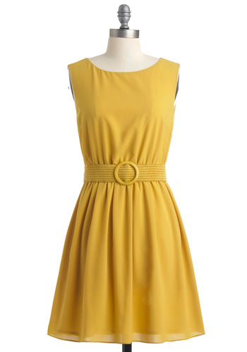Yellow? Anyone There? Dress - Yellow, Solid, Buckles, Cutout, Casual, A-line, Sleeveless, Spring, Short