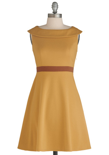 I Am What I Amber Dress - Mid-length, 60s, Yellow, Red, Solid, Pockets, A-line, Sleeveless, Party