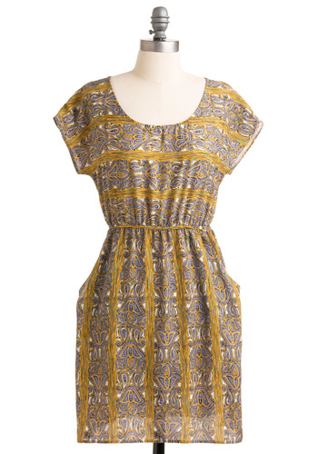Woodworking Wonders Dress - Yellow, Purple, Paisley, Casual, Boho, A-line, Cap Sleeves, Multi, Cutout, Pockets, Short