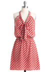 Jess Loves Fred Dress - Mid-length, Grey, Stripes, Bows, Casual, Red, A-line, Halter