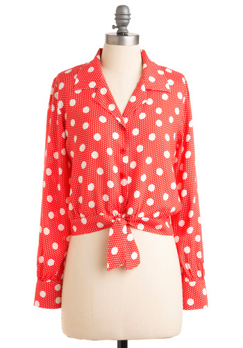 Lucky Charming Top - Short, Red, White, Polka Dots, Buttons, Long Sleeve, Party, Rockabilly, Vintage Inspired, 60s