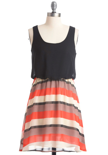 Don't Be Latte Dress - Casual, Black, Orange, Stripes, A-line, Twofer, Tank top (2 thick straps), White, Summer, Short