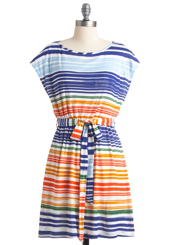 What Did You Expectrum? Dress - Mid-length, Casual, Orange, White, Stripes, Sheath / Shift, Cap Sleeves, Multi, Green, Blue, Print