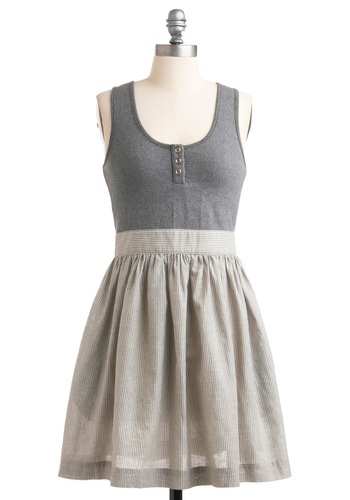 Anything For You Dress - Mid-length, Grey, Buttons, A-line, Tank top (2 thick straps), Twofer, White, Stripes, Casual, Summer
