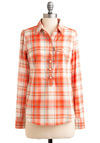 Citrus Back and Relax Top - Casual, Menswear Inspired, White, Plaid, Long Sleeve, Buttons, Pockets, Orange, Blue, Mid-length