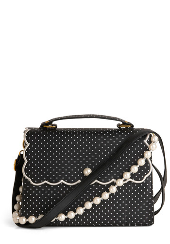Pin Dots and Proper Bag - Vintage Inspired, Black, White, Polka Dots, Buckles, Scallops, Pearls, Party, Daytime Party, 50s, Top Rated