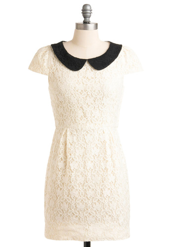 Violin Recital Dress - White, Black, Solid, Lace, Peter Pan Collar, Sheath / Shift, Short Sleeves, Floral, 60s, Spring, Short, Party, Collared