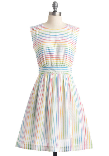 Too Much Fun Dress in Rainbow by Emily and Fin - Red, Orange, Yellow, Green, Blue, Stripes, Pockets, A-line, Sleeveless, Mid-length, Multi, White, Party, Fairytale, Print, International Designer, Sundress, Spring