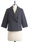 Make It Network Blazer by Tulle Clothing - Short, Blue, White, Work, Nautical, 3/4 Sleeve, Spring, 2