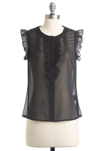 Glam Tidings Top by Tulle Clothing - Mid-length, Black, Solid, Polka Dots, Ruffles, Sleeveless, Work, Vintage Inspired