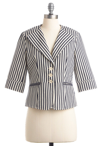 Ukulele Band Blazer by Tulle Clothing - Short, Blue, Stripes, Buttons, Pockets, 3/4 Sleeve, Casual, Vintage Inspired, 20s, 30s, White, Nautical, Spring, 1.5