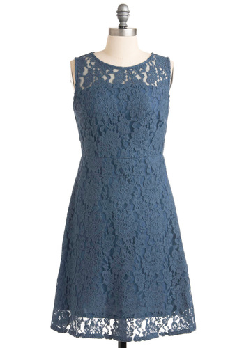 A New Day Dress by Tulle Clothing - Mid-length, Blue, Solid, Lace, Pockets, Sheath / Shift, Sleeveless, Floral, Party, Vintage Inspired