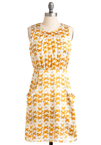 Stylish Specimen Dress by Tulle Clothing - Mid-length, Orange, White, Print with Animals, Pockets, Shift, Sleeveless, Casual, Yellow, Spring, Print