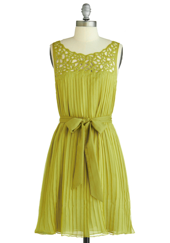 Then A-Glen Dress - Mid-length, Party, Fairytale, Green, Solid, Pleats, Sleeveless, Cutout, Wedding, Tent / Trapeze, Spring