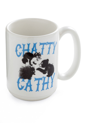 Critter Chatter Mug - Vintage Inspired, White, Blue, Black, Dorm Decor