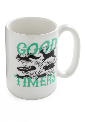 Let the Wood Times Roll Mug - White, Green, Black, Print with Animals