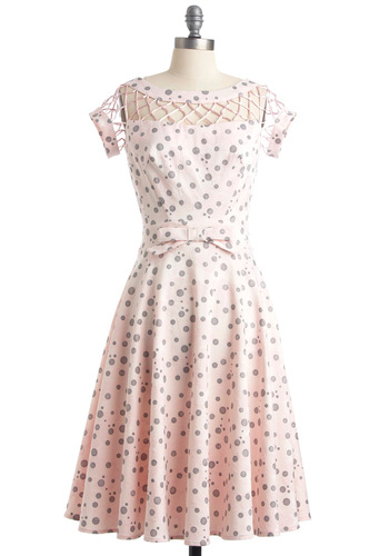 With Only a Wink Dress in Rose by Bettie Page - Pink, Grey, Polka Dots, Bows, Cutout, A-line, Short Sleeves, Vintage Inspired, 50s, Spring, Long, Party, Fit & Flare, Sheer, Pastel, Pinup
