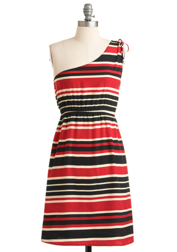 Boathouse Bash Dress - Mid-length, Black, White, Stripes, Bows, Nautical, A-line, One Shoulder, Multi, Red, Party