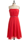 Linger a Little Longer Dress - Pink, Polka Dots, White, Party, Sheath / Shift, Strapless, Spring, Red, Long