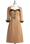 Alpine Adventure Dress - Long, Tan, Black, Solid, Buckles, Buttons, A-line, 3/4 Sleeve, Vintage Inspired, 40s, Fall, Work