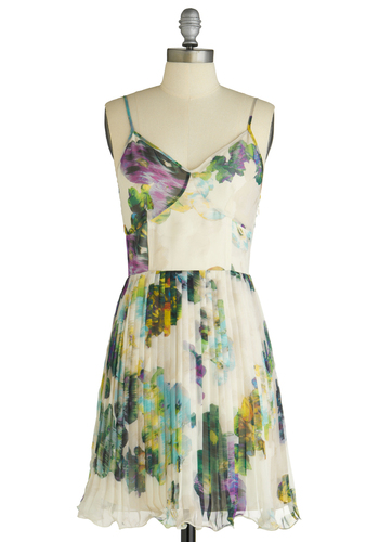 Paint an Impression Dress by Jack by BB Dakota - Green, Purple, Floral, Pleats, A-line, Spaghetti Straps, Multi, Yellow, Blue, White, Ruffles, Party, Spring, Mid-length, Wedding