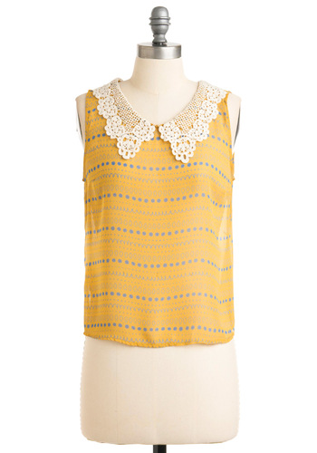 Rays or Shine Top - Short, Yellow, Blue, Stripes, Crochet, Casual, Vintage Inspired, Sleeveless, White, Scallops, Spring