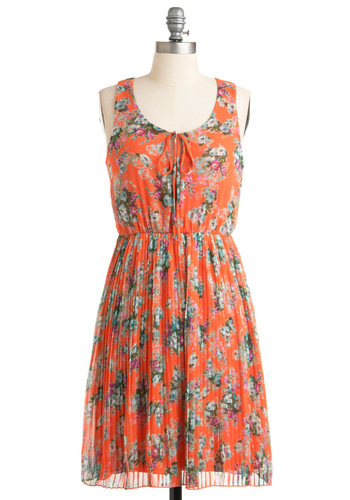 Wherever You Grove Dress - Mid-length, Orange, Green, Blue, Floral, Pleats, Sheath / Shift, Sleeveless, Casual, Multi, Purple, Spring