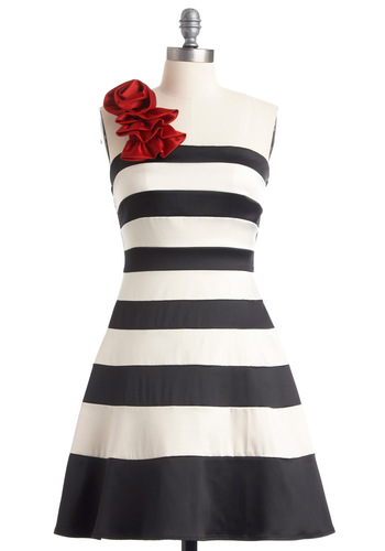 When You Can Dance Dress - Mid-length, Red, Stripes, Ruffles, A-line, One Shoulder, White, Party, Prom, Black, Cocktail, Homecoming, Print