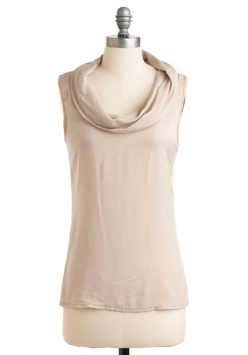 Job Well Dune Top - Casual, Tan, Solid, Sleeveless, Mid-length