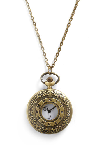 Double Time Necklace - Casual, Vintage Inspired, Gold, White, Solid, Chain, Steampunk