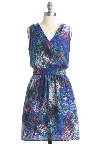 Dapple Your Luck Dress - Mid-length, Blue, White, Print, A-line, Sleeveless, Casual, Multi, Purple, Pink, Black, Grey, Buttons, Cutout