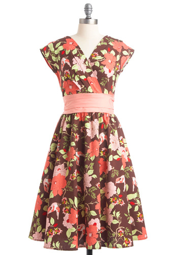 Garden Tour Dress - Long, Floral, Pleats, A-line, Pink, Cap Sleeves, Multi, Green, Brown, Vintage Inspired, Cocktail, Cotton, Coral, Fit & Flare, V Neck
