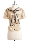 One Scoop or Two Top - Mid-length, Tan, Black, Polka Dots, Bows, Buttons, Short Sleeves, Rockabilly, Vintage Inspired, 40s, Work