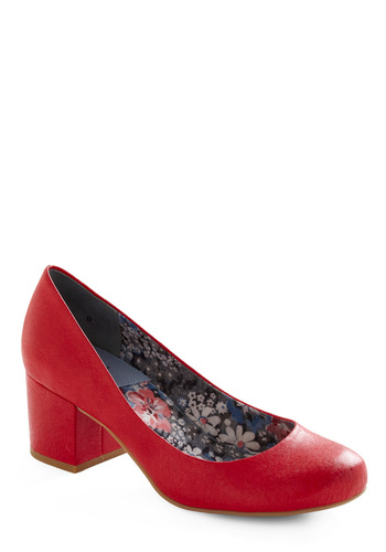 Cheerful in Cherry Heel by BC Footwear - Red, Solid, Party, Leather, Mid, Chunky heel