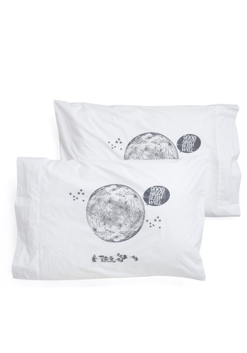 Lunar than Expected Pillowcase Set - Vintage Inspired, White, Grey, Novelty Print, Cotton, Quirky