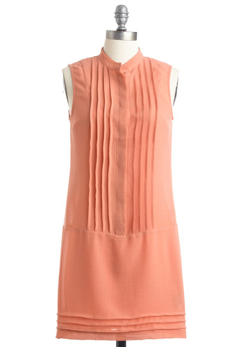 To Peach Her Own Dress by BB Dakota - Solid, Pleats, Shift, Sleeveless, Casual, Orange, 60s, Spring, Short