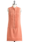 To Peach Her Own Dress by BB Dakota - Solid, Pleats, Sheath / Shift, Sleeveless, Casual, Orange, 60s, Spring, Short