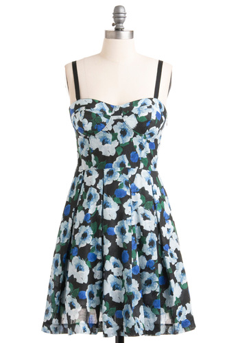Evening on the Terrace Dress by BB Dakota - Mid-length, Green, Floral, Spaghetti Straps, Party, Multi, Blue, Black, 90s, A-line