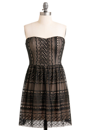 Formal Invitation Dress - Mid-length, Black, Lace, A-line, Strapless, Party, Cocktail, Holiday Party, Sweetheart