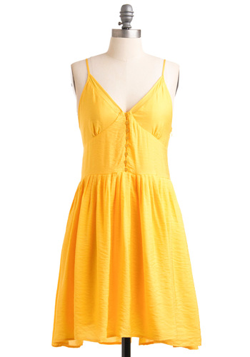 Yellow, My Name Is Dress by Jack by BB Dakota - Mid-length, Yellow, Solid, Buttons, Spaghetti Straps, Slip, Party, A-line, Summer