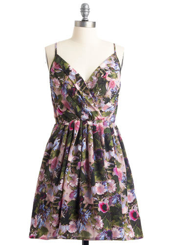 Thistle and Twirl Dress by Jack by BB Dakota - Mid-length, Multi, Floral, A-line, Spaghetti Straps, Party, Casual, Green, Blue, Pink, Black, Pleats