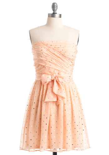 Sparkling Cider Dress - Mid-length, Pink, Gold, Bows, A-line, Strapless, Party, Solid, Sequins