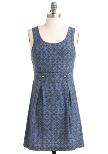 Don't Mansion It Dress - Blue, Brown, Print, Buttons, Shift, Sleeveless, Pleats, Casual, Short
