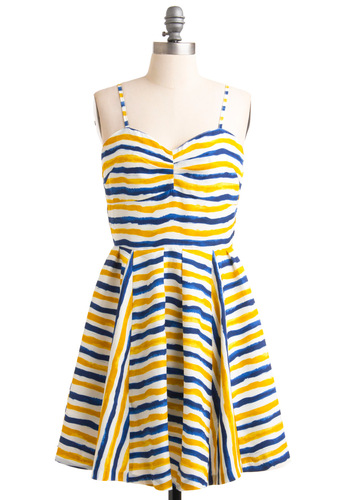 Paint Life Grand Dress by Jack by BB Dakota - Mid-length, Casual, Yellow, Blue, White, Stripes, Pleats, A-line, Spaghetti Straps, Summer, Print