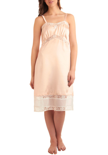 Elegance at Its Best Full Slip in Peach - Pink, Solid, Bows, Lace, Slip, Spaghetti Straps