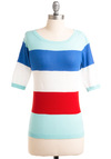 Banding Together Top - Mid-length, Nautical, Red, White, Stripes, Short Sleeves, Spring, Multi, Blue